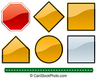 common road signs 1 - a set of common road sign shapes and...