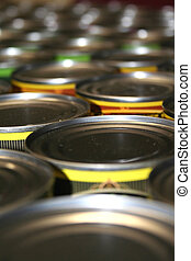 Food cans for charity close up shot