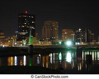 Dayton Night Skyline - View of Dayton, Ohio skyline at night...
