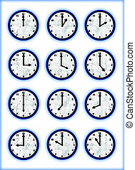 Clocks aqua - Twelve business wall clocks blue aqua color
