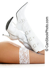 legs in white boots - legs in white fishnet stockings and...