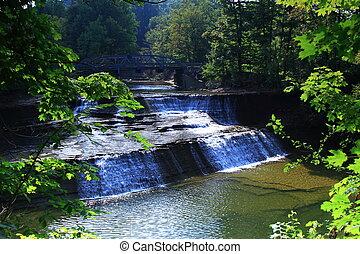 Paine Falls 7 - Landscape of Paine Falls under a bridge