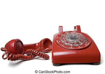 Red rotary telephone - old antique style rotary telephone...