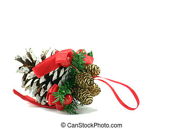 pine cones  christmas decoration isolated over white