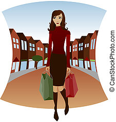 Downtown Shopping - Shopping downtown with bags in hand -...