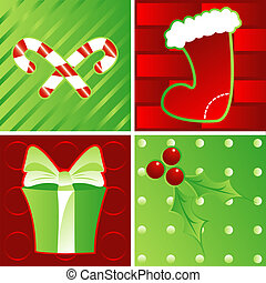 Holidays - Red and Green - Holiday montage of candy canes,...