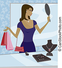 Jewelry Shopping - Woman shopping for jewelry in a boutique...
