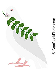 PEACE PIGEON WITH BRANCH IN THE BILL