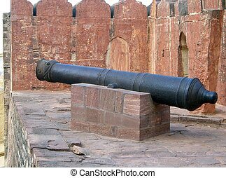 A canon located on a wall