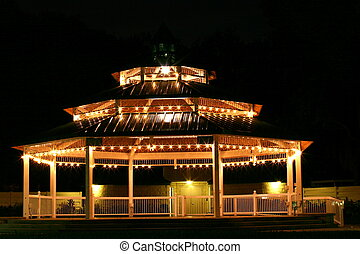 Gazebo at Night - This is a photograph of the well lit and...