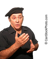 Beret Expressions - A man in a black beret with facial...