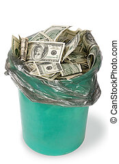 Money in dustbin