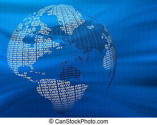 Digital Globe - Digital world on a blue background. 3d...