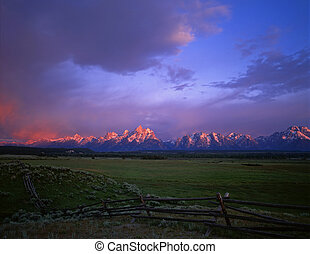 Tetons and Fence1 - A buck and rail fence with the Grand...