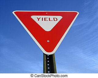 Yield Sign - Yield sign viewed from below.