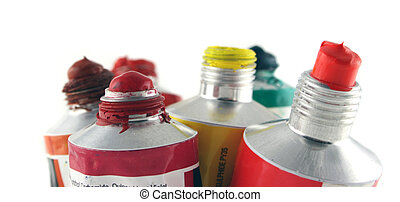 Acrylic paints - Close up of 6 Tubes of Acrylic Paints ,...