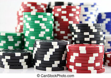 Casino Chips - Stack - Close up shot of casino chips - focus...