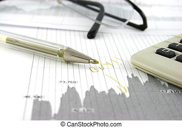 Stocks and Shares - Stock market data with a pen and...