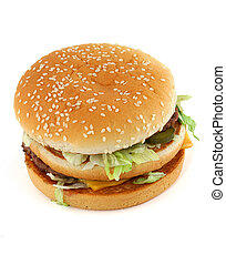 appetizing hamburger on white - top view
