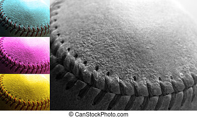 CMYK Baseball - Detail close up of baseball seams...