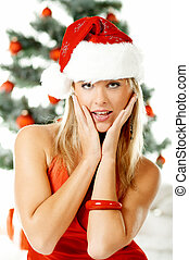 Beautiful Christmas 1 - Beautiful young woman next to...