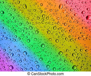 rainbow water drops - close-up of rainbow water drops