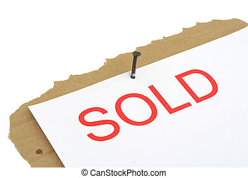 sold property sign, background is pure white