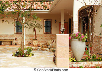 Courtyard II - View of a newly constructed Spanish style...
