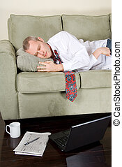 Sleeping - tired businessman that felt asleep white working