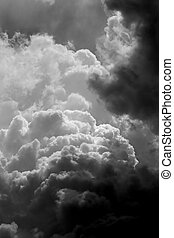 Stormy clouds in BW