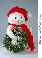 Old Christmas Snowman - Old Christmas snowman with wreath...