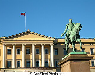 Oslo - Statue of king Karl Johan outside the royal pallace...