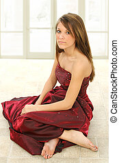 Beautiful Teen - Beautiful teen girl in formal dress