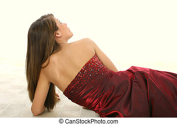 Beautiful Teen Girl - Beautiful teen girl in formal dress.