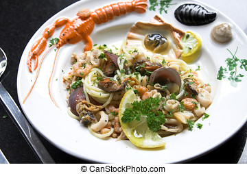 Delicious seafood dish - Delicious dish with spaghetti,...