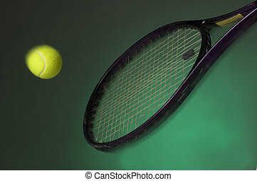 tennis racket hitting yellow ball on green background