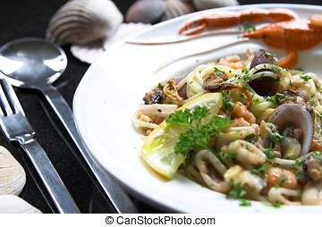 Seafood pasta dish - Delicious seafood pasta dish