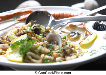 Seafood dish - Delicious seafood dish served with shells,...