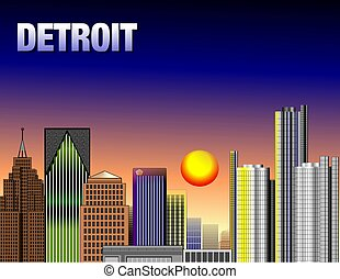 DOWNTOWN DETROIT - Illustration of down town detroit