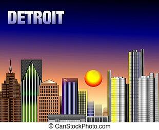 DOWNTOWN DETROIT - Illustration of down town detroit