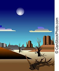 MONUMENT VALLEY - Illustration of red rock mountains