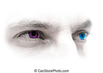 Blue-Magenta Eyes - Mans look with coloured eyes