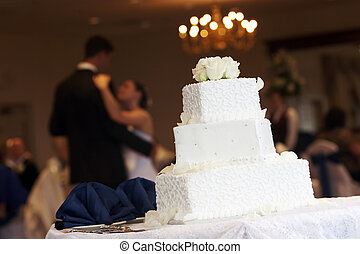 Bride Groom Cake - a white wedding cake with neat little...