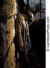 Alley Man - Man with hat covering his face