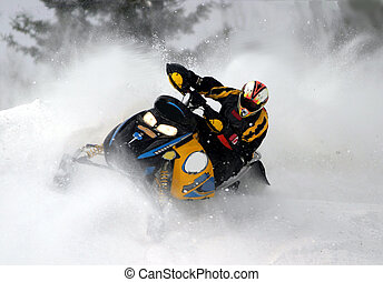 going fast - snowmobile, cold, ride,