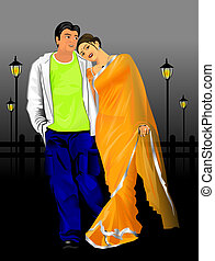 INDIAN COUPLE - An illustration of beautiful Indian couple...