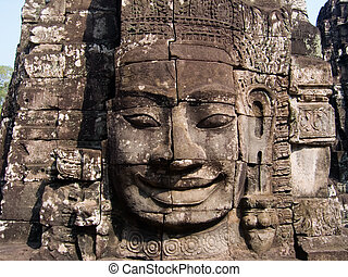 "\""Face\\\"" Towers, Bayon - Face Carving on Tower at Bayon..."