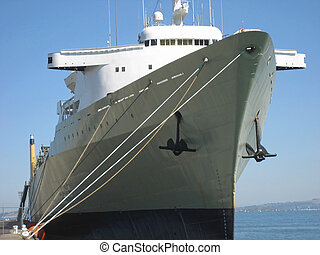 Commercial Ship - Large commercial ship anchored in harbor...