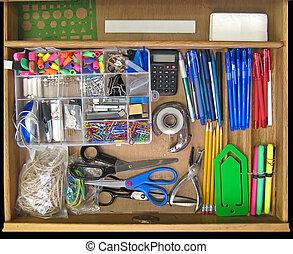 Open Desk Drawer - Open teacher\\\'s desk drawer full of...