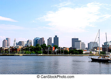 Boston skyline on summer day